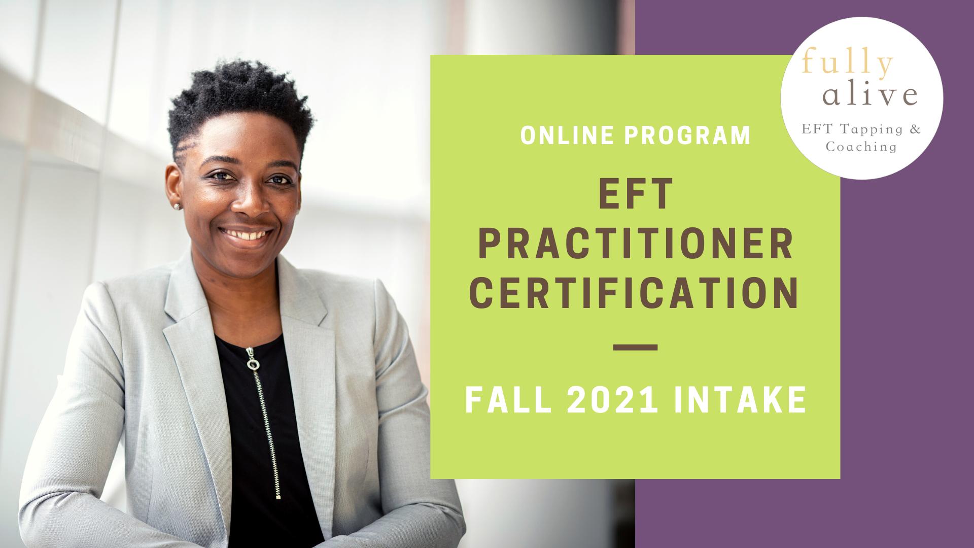 EFT tapping training - EFT practitioner certification program flyer - Fall 2021 intake